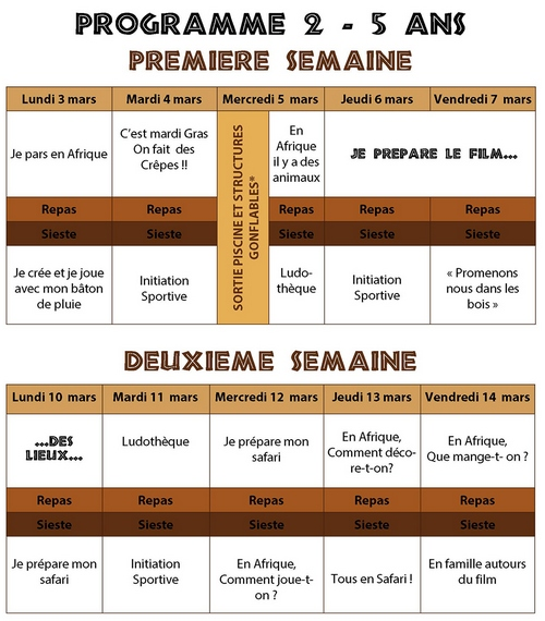 PROGRAMME CENTRE DE LOISIRS VACANCE D'HIVER - LA COUVEUSE - MPT CHADRAC